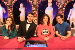 Celebrity Juice. Image shows from L to R: Stacey Solomon, Joel Dommett, Emilia Fox, Tom Read Wilson.