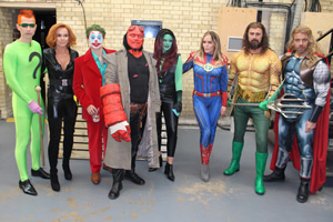 Celebrity Juice. Image shows from L to R: James McVey, Amanda Holden, Bradley Simpson, Leigh Francis, Emily Atack, Patsy Kensit, Paddy McGuinness, Max Beesley.