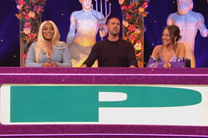 Celebrity Juice. Image shows from L to R: Stefflon Don, Paddy McGuinness, Jaime Winstone.