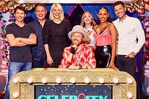 Celebrity Juice. Image shows from L to R: James Blunt, Richard Arnold, Holly Willoughby, Leigh Francis, Katherine Ryan, Melanie Brown, Mark Wright. Copyright: Talkback.