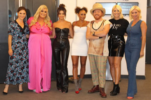 Celebrity Juice. Image shows from L to R: Emilia Fox, Gemma Collins, Maura Higgins, Melanie Brown, Leigh Francis, Holly Willoughby, Denise Van Outen.