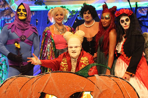 Celebrity Juice. Image shows from L to R: Will Mellor, Holly Willoughby, Leigh Francis, Paddy McGuinness, Melanie Brown, Anna Richardson.