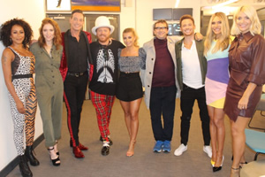 Celebrity Juice. Image shows from L to R: Melanie Brown, Angela Scanlon, Craig Revel Horwood, Leigh Francis, Dani Dyer, Phil Daniels, Joe Swash, Ayda Field Williams, Holly Willoughby.