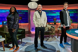 Channel Hopping With Jon Richardson. Image shows from L to R: Judi Love, Jon Richardson, Ed Gamble. Copyright: Rumpus Media.