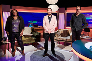 Channel Hopping With Jon Richardson. Image shows from L to R: Judi Love, Jon Richardson, Iain Stirling. Copyright: Rumpus Media.