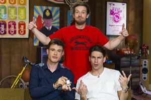 The Chris Ramsey Show. Image shows from L to R: Ed Gamble, Chris Ramsey, Joey Essex. Copyright: Avalon Television.