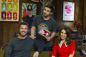 The Chris Ramsey Show. Image shows from L to R: Rick Edwards, Chris Ramsey, Ellie Taylor. Copyright: Avalon Television.