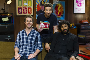 The Chris Ramsey Show. Image shows from L to R: Carl Hutchinson, Chris Ramsey, Nish Kumar. Copyright: Avalon Television.