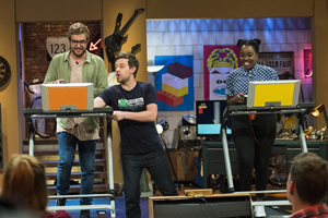 The Chris Ramsey Show. Image shows from L to R: Iain Stirling, Chris Ramsey, Lolly Adefope. Copyright: Avalon Television.