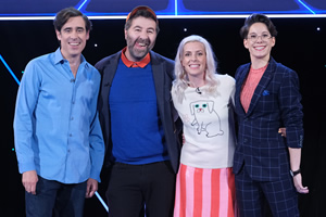 Comedians Giving Lectures. Image shows from L to R: Stephen Mangan, David O'Doherty, Sara Pascoe, Suzi Ruffell. Copyright: 12 Yard Productions.