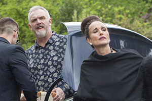 Cuckoo. Image shows from L to R: Ken (Greg Davies), Ivy (Andie MacDowell). Copyright: Roughcut Television.