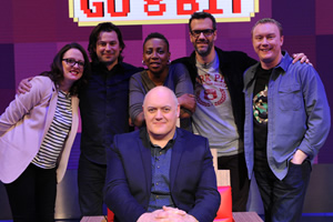 Dara O Briain's Go 8 Bit. Image shows from L to R: Ellie Gibson, Sam Pamphilon, Gina Yashere, Dara O Briain, Marcus Brigstocke, Steve McNeil. Copyright: DLT Entertainment Ltd..