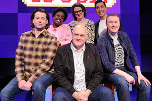 Dara O Briain's Go 8 Bit. Image shows from L to R: Sam Pamphilon, Lolly Adefope, Dara O Briain, Ellie Gibson, Russell Kane, Steve McNeil. Copyright: DLT Entertainment Ltd..
