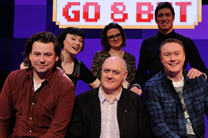 Dara O Briain's Go 8 Bit. Image shows from L to R: Sam Pamphilon, Bec Hill, Dara O Briain, Ellie Gibson, Vernon Kay, Steve McNeil. Copyright: DLT Entertainment Ltd..