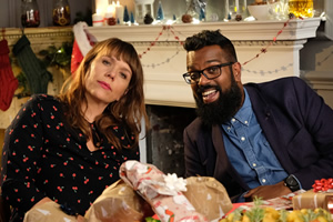 Dave's Advent Calendar. Image shows from L to R: Kerry Godliman, Romesh Ranganathan.