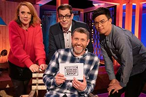 Dave Gorman: Terms And Conditions Apply. Image shows from L to R: Sara Barron, Richard Osman, Dave Gorman, Phil Wang. Copyright: Avalon Television.