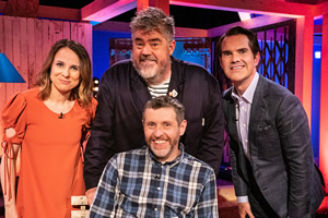 Dave Gorman: Terms And Conditions Apply. Image shows from L to R: Cariad Lloyd, Phill Jupitus, Dave Gorman, Jimmy Carr. Copyright: Avalon Television.