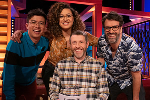Dave Gorman: Terms And Conditions Apply. Image shows from L to R: Phil Wang, Rose Matafeo, Dave Gorman, Marcus Brigstocke. Copyright: Avalon Television.