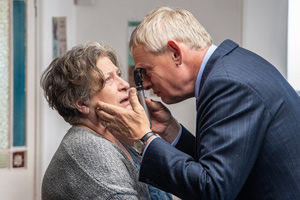Doc Martin. Image shows from L to R: Angela Sim (Caroline Quentin), Dr Martin Ellingham (Martin Clunes).