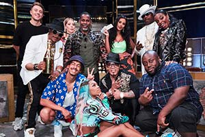 Don't Hate The Playaz. Image shows from L to R: Roman Kemp, Hen Dogg Williams, Katherine Ryan, Jordan Stephens, Master Gee, Lady Leshurr, Melle Mel, Maya Jama, Scorpio, London Hughes.