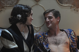 Drunk History. Image shows from L to R: Wallis Simpson (Sophie McShera), Prince Edward (Tom Stourton). Copyright: Tiger Aspect Productions.