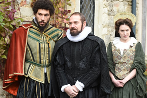 Drunk History. Image shows from L to R: Gilbert Gifford (Joel Fry), Frances Walsingham (Alexander Kirk), Elizabeth's Courtier (Sarah Daykin). Copyright: Tiger Aspect Productions.