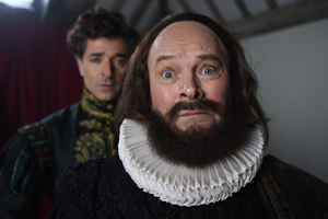 Drunk History. Image shows from L to R: Actor (Jake Canuso), William Shakespeare (Mark Heap). Copyright: Tiger Aspect Productions.
