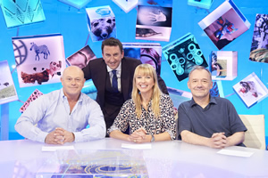 Duck Quacks Don't Echo. Image shows from L to R: Ross Kemp, Lee Mack, Sara Cox, Bob Mortimer. Copyright: Magnum Media.