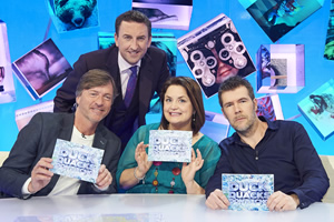 Duck Quacks Don't Echo. Image shows from L to R: Richard Madeley, Lee Mack, Ruth Jones, Rhod Gilbert. Copyright: Magnum Media.