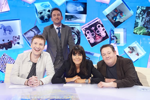 Duck Quacks Don't Echo. Image shows from L to R: Joe Lycett, Lee Mack, Claudia Winkleman, Johnny Vegas. Copyright: Magnum Media.