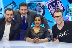 Duck Quacks Don't Echo. Image shows from L to R: Danny Dyer, Lee Mack, Meera Syal, Jason Byrne. Copyright: Magnum Media.