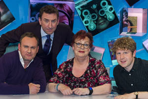 Duck Quacks Don't Echo. Image shows from L to R: Philip Glenister, Lee Mack, Jo Brand, Josh Widdicombe. Copyright: Magnum Media.