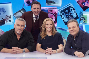 Duck Quacks Don't Echo. Image shows from L to R: Paul Hollywood, Lee Mack, Gabby Logan, Hal Cruttenden. Copyright: Magnum Media.