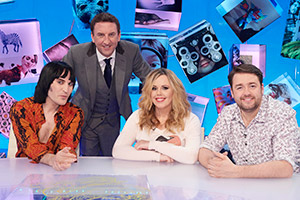 Duck Quacks Don't Echo. Image shows from L to R: Noel Fielding, Lee Mack, Roisin Conaty, Jason Manford. Copyright: Magnum Media.