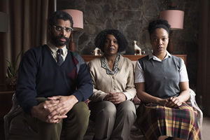 The End Of The F***ing World. Image shows from L to R: Bonnie's Dad (Karl Collins), Bonnie's Mum (Nadine Marshall), Bonnie (Naomi Ackie).