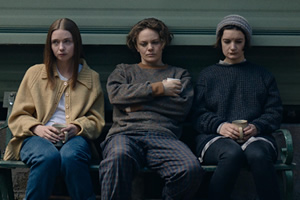 The End Of The F***ing World. Image shows from L to R: Alyssa (Jessica Barden), Iggy (Florence Bell), Silent Lisa (Aoife Duffin).