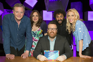 Frankie Boyle's New World Order. Image shows from L to R: Miles Jupp, Lucy Prebble, Frankie Boyle, Nish Kumar, Sara Pascoe. Copyright: Zeppotron.