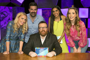Frankie Boyle's New World Order. Image shows from L to R: Sara Pascoe, Rob Delaney, Frankie Boyle, Mona Chalabi, Katherine Ryan. Copyright: Zeppotron.