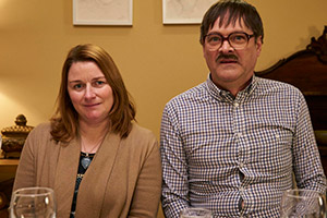 Friday Night Dinner. Image shows from L to R: Other Jackie (Rosie Cavaliero), Jim (Mark Heap).