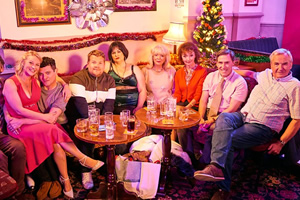 Gavin & Stacey. Image shows from L to R: Stacey (Joanna Page), Gavin (Mathew Horne), Smithy (James Corden), Nessa (Ruth Jones), Pam (Alison Steadman), Gwen (Melanie Walters), Bryn (Rob Brydon), Mick (Larry Lamb). Copyright: Baby Cow Productions.