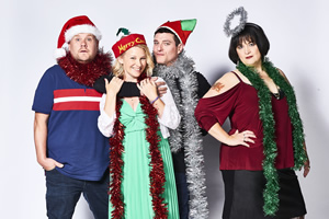 Gavin & Stacey. Image shows from L to R: Smithy (James Corden), Stacey (Joanna Page), Gavin (Mathew Horne), Nessa (Ruth Jones). Copyright: Baby Cow Productions.