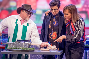 The Generation Game. Image shows from L to R: Gary McClure, Sue Perkins, Mel Giedroyc. Copyright: BBC.