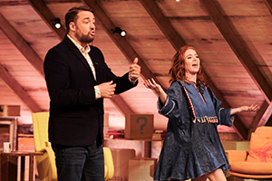 Guessable. Image shows from L to R: Jason Manford, Angela Scanlon. Copyright: Tuesday's Child.
