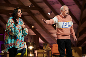 Guessable?. Image shows from L to R: Scarlett Moffatt, Gyles Brandreth. Copyright: Tuesday's Child.