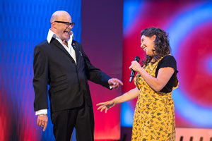 Harry Hill's ClubNite. Image shows from L to R: Harry Hill, Rosie Jones. Copyright: Nit TV.