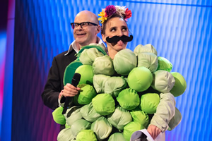 Harry Hill's ClubNite. Image shows from L to R: Harry Hill, Lucy Pearman. Copyright: Nit TV.
