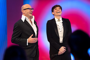 Harry Hill's ClubNite. Image shows from L to R: Harry Hill, Suzi Ruffell. Copyright: Nit TV.