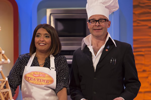 Harry Hill's Tea Time. Image shows from L to R: Sunetra Sarker, Harry Hill. Copyright: Nit TV.