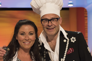 Harry Hill's Tea Time. Image shows from L to R: Jessie Wallace, Harry Hill. Copyright: Nit TV.