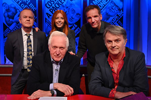 Have I Got News For You. Image shows from L to R: Ian Hislop, David Dimbleby, Stacey Dooley, Henning Wehn, Paul Merton.